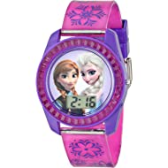 Frozen Kids' Digital Watch with Elsa and Anna on the Dial, Purple Casing, Comfortable Pink Strap,...