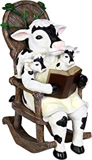 Exhart Solar Cow Family Reading a Book on a Rocking Chair Garden Statue – Bookworm Cows Mini Figurine w/Solar LED Lights, Booklovers Cow Statue, Resin Cow Decorations, 5.9