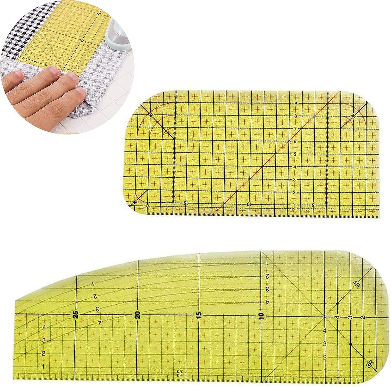 2 piezas Regla De Planchado En Caliente, Patchwork Tailor Craft, DIY Tailor Craft Suministros de Costura, regla de retazos para manualidades, para hacer ropa y mediciones precisas