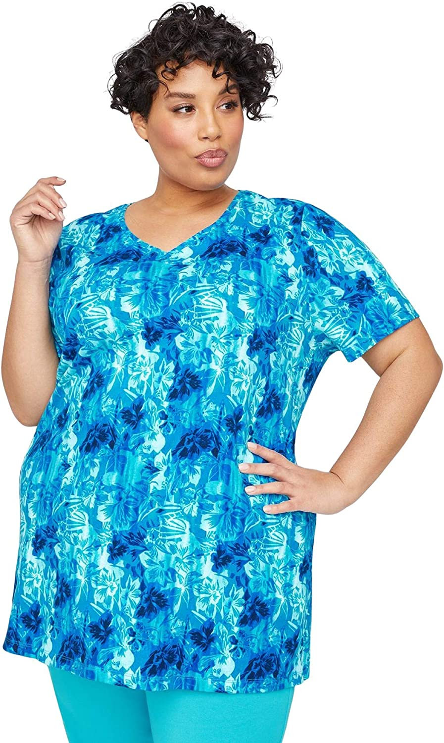 Catherines Women's Plus Size V-Neck Easy Fit Tee