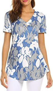 Women Floral Print V Neck Button Decor Peasant Summer Swing Tunic Tops Shirts