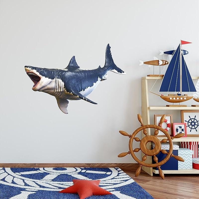 48 Megalodon 2 HUGE Shark Wall Decal Sticker Ocean Under The Sea Kids Room Decor Boys Bedroom Birthday Gift Man Cave Decor Prehistoric Extinct Big Tooth