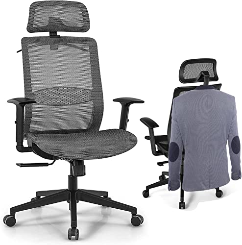 discount Giantex Ergonomic Office Chair, Mesh Desk new arrival Chair Back Support outlet online sale with Adjustable Headrest, High Back Executive Chair Comfortable Swivel Rolling Computer Task Chair with Clothes Hanger for Adults (Grey) online