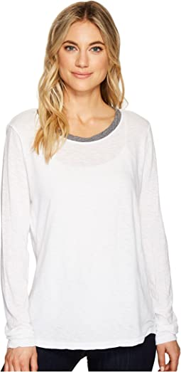 Cotton Supima Long Sleeve Crew Neck Ringer Tee