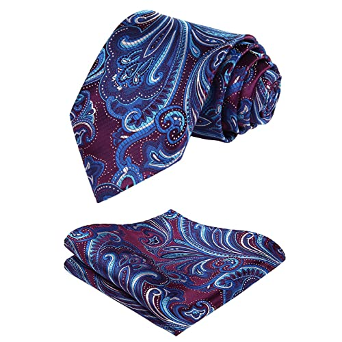 831957072d8d HISDERN Floral Paisley Wedding Tie Handkerchief Men's Necktie & Pocket  Square Set