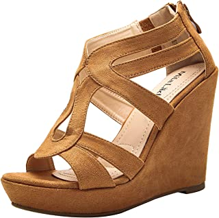 A-LISA40 Zippered Strappy Open Toe Platform Wedges Heeled Sandals Shoes for Women