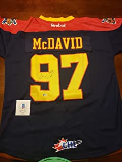 Nwt Sewn Connor Mcdavid Erie Otters Jersey Beckett Authentic Bsa Certified Autographed Signed Auto