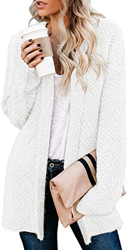 Vetinee Womens Casual Sherpa Fleece Knit Hoodie Cardigan Sweater Open Front Long Sleeve Coat