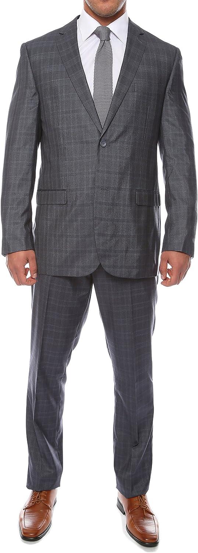 36R Zonettie Hamilton Mens 2pc Slim Fit Navy Blue Plaid Suit