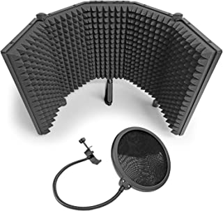 """AxcessAbles SF-101KIT Recording Studio Microphone 32.5""""Wx13""""H (422sq inch) Half Dome Isolation Shield with 6"""" Pop Filter. ..."""