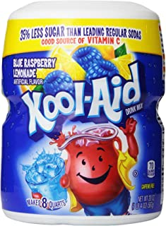 Kool Aid Blue Raspberry Lemonade Drink Mix, Makes 8 Quarts (20 oz Canisters, Pack of 12)