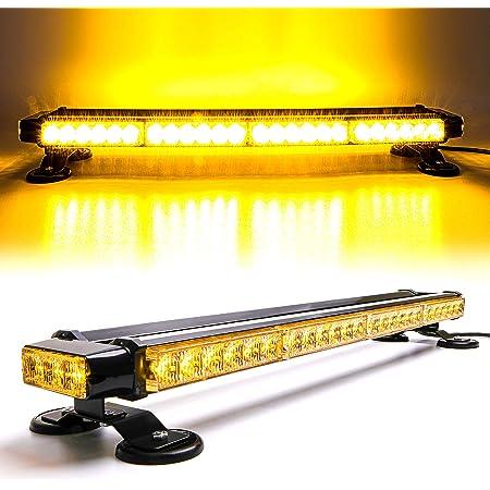 "CUMART 26.5"" Amber Yellow 54 LED Automotive Warning Emergency Flashing Snow Plows Light Bar Double Side Strobe Light Traffic Advisor with Magnetic Base (26.5"" 54LED, Amber/Yellow)"