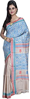 SareesofBengal Women's Handloom Weaved Murshidabad Desi Tussar/Kosa/Tassar Silk Saree With Blouse Piece