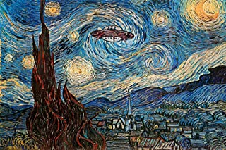 UFO Sighting On A Starry Night Vincent Van Gogh Humor Art Poster 12x18 - coolthings.us