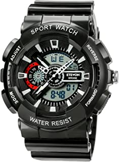 ETEVON Men's Large Classic Outdoor Sport Wrist Watch - Multifunction: Stopwatch Alarm Date 12/24 Hours Format EL Backlight 30M Waterproof Two Time Zone - Fashion Analog Digital Watches for Men - Black