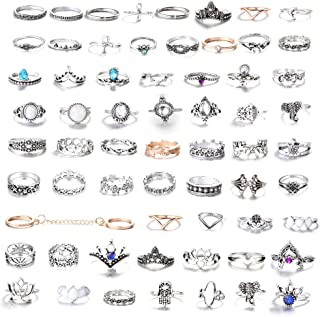 42-101 Pcs Vintage Knuckle Rings for Women Stackable Midi Finger Ring Set