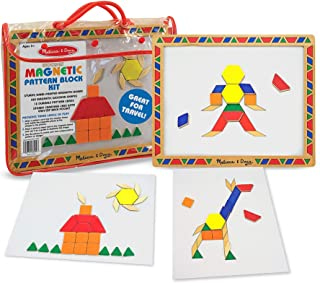 Melissa & Doug 3590 Deluxe Wooden Magnetic Pattern Blocks Set - Educational Toy With 120 Magnets and Carrying Case