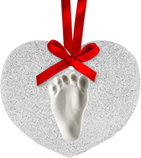 Lil Peach Baby's Print Handprint or Footprint Glitter Personalized Holiday Keepsake Ornament Kit to Capture Baby's Print, Heart, Silver