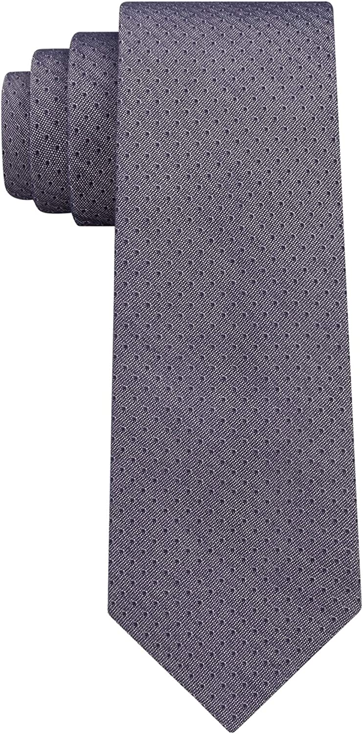 DKNY Mens Denim Pindot Self-tied Necktie Blue Size One Shipping included Popular brand in the world