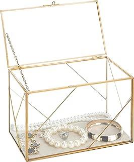 MyGift Geometric Glass & Brass Shadow Box/Jewelry Display Case
