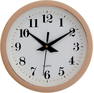 FurnishGlory 9 Inches Wall Clock for Home/Offces/Bedroom/Living Room/Kitchen (Step Movement, Golden)