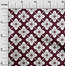 oneOone Velvet Maroon Fabric Floral & Tiles Moroccan DIY Clothing Quilting Fabric Print Fabric by Yard 58 Inch Wide