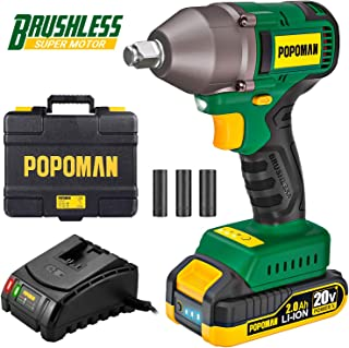 "Impact Wrench, Brushless 20V MAX Cordless, 300 Ft-lbs Max Torque with 3 Speed Transmission, 1/2"" Hog Ring Anvil, 2.0Ah Li-ion Battery, 60 Min Fast Charger, Tool Box - POPOMAN BHD850B"