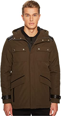 Parka with Crossed Topstitching