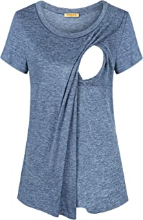 BAIKEA Breastfeeding Maternity Tops,Postpartum Momma Lactation Rear Baby Care 2020 Summer Breezy Trendy Soft Slant Oblique...