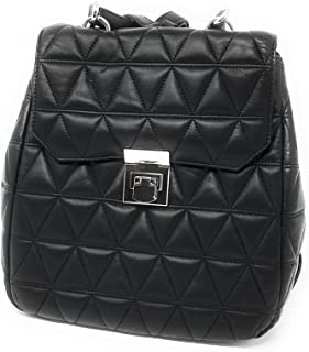 Vivianne Leather Quilted Backpack Black
