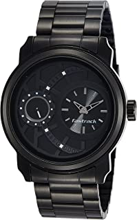 Titan Men's Black Dial Stainless Steel Band Watch - 3147KM01