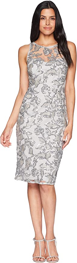 Sleeveless Sequin Sheath Cocktail Dress