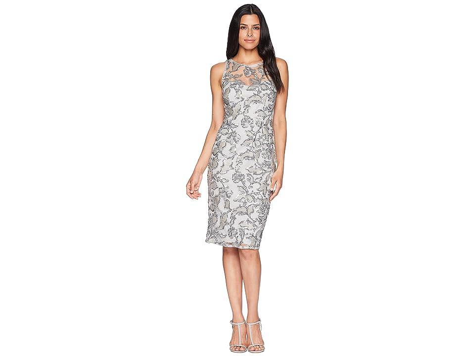 Adrianna Papell Sleeveless Sequin Sheath Cocktail Dress (Silver) Women