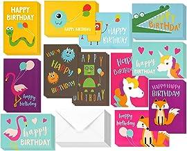 48 بسته کارت تولد کودکان کارت پستال تک شاخ، فلامینگو و هیولا تولدت مبارک کارت پستال برای همه بچه ها دسته بندی بسته - مجموعه جعبه فله با پاکت شامل - 4 * 6 اینچ