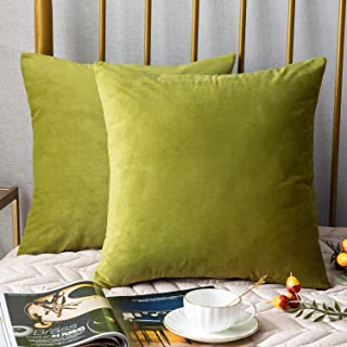 DEZENE Throw Pillow Covers, 2 Pack Super Soft Velvet Decorative Pillow Cases, Luxury Accent Rectangular Pillowcases, Square Cushion Covers for Farmhouse,Couch,Sofa, 16 x 16 Inch, Chartreuse