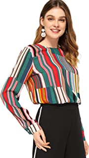 b1364c742295c4 SheIn Women s Casual Long Sleeve Round Neck Tops Mixed Striped Blouse
