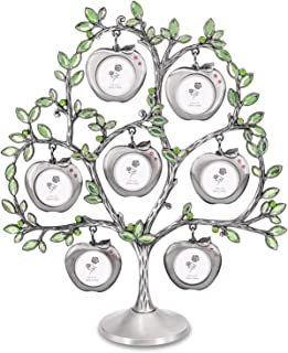 QTMY Metal Crystal Family Tree with 7 Hanging Apple Picture Frames Collage Desk Ornaments