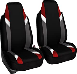 FH Group FB133RED102 Bucket Seat Cover (Supreme Modernistic Airbag Compatible (Set of 2) Red)
