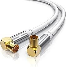 CSL-Computer 3,0m Cable de Antena HQ HDTV Premium - En ángulo 90 Grado - Factor de blindaje 135 dB - Resistencia 75 ohmios - Cable coaxial - Clavija coaxial Macho a Hembra