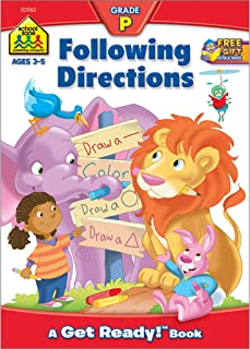 School Zone - Following Directions Workbook - Age 3 to 5, Preschool to Kindergarten, Shapes, Colors, Positional Words, Numbers, Illustrations, and More (School Zone Get Ready!™ Book Series)