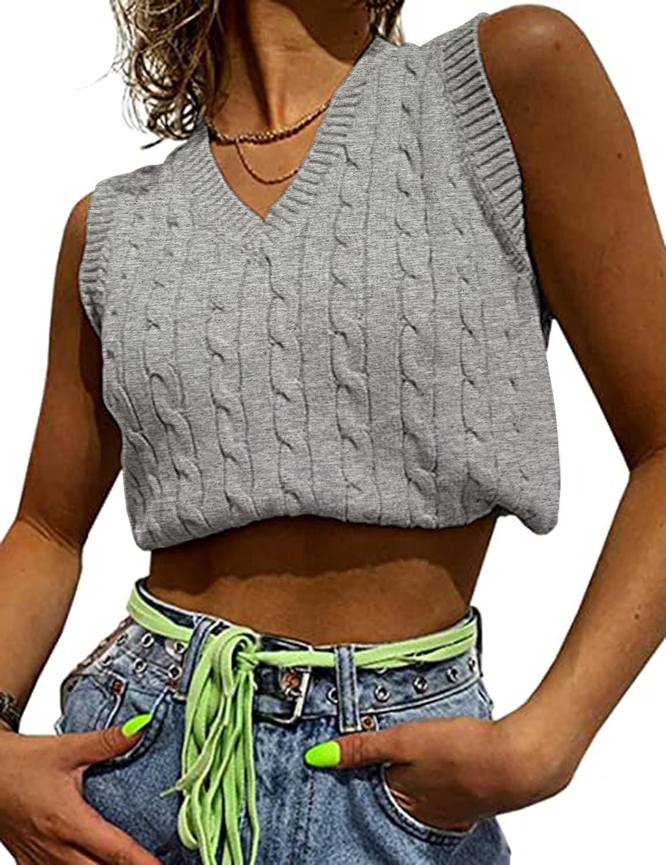 Meladyan Women's Vintage Sleeveless V Neck Sweater Vest Cable Knit Preppy Style Sweater Waistcoats Tops
