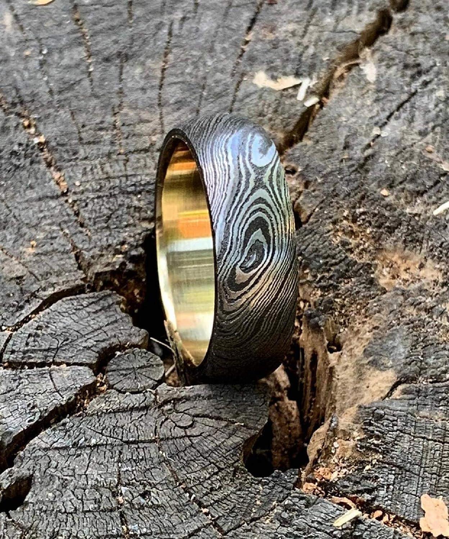 KE-0801-HK Custom and Handmade Damascus Steel Ring Band inner BRASS Liner Custom width Handmade Damascus Ring Men Wedding Ring Men Engagement Ring Men Wedding Band (Color Might be Slightly Different)