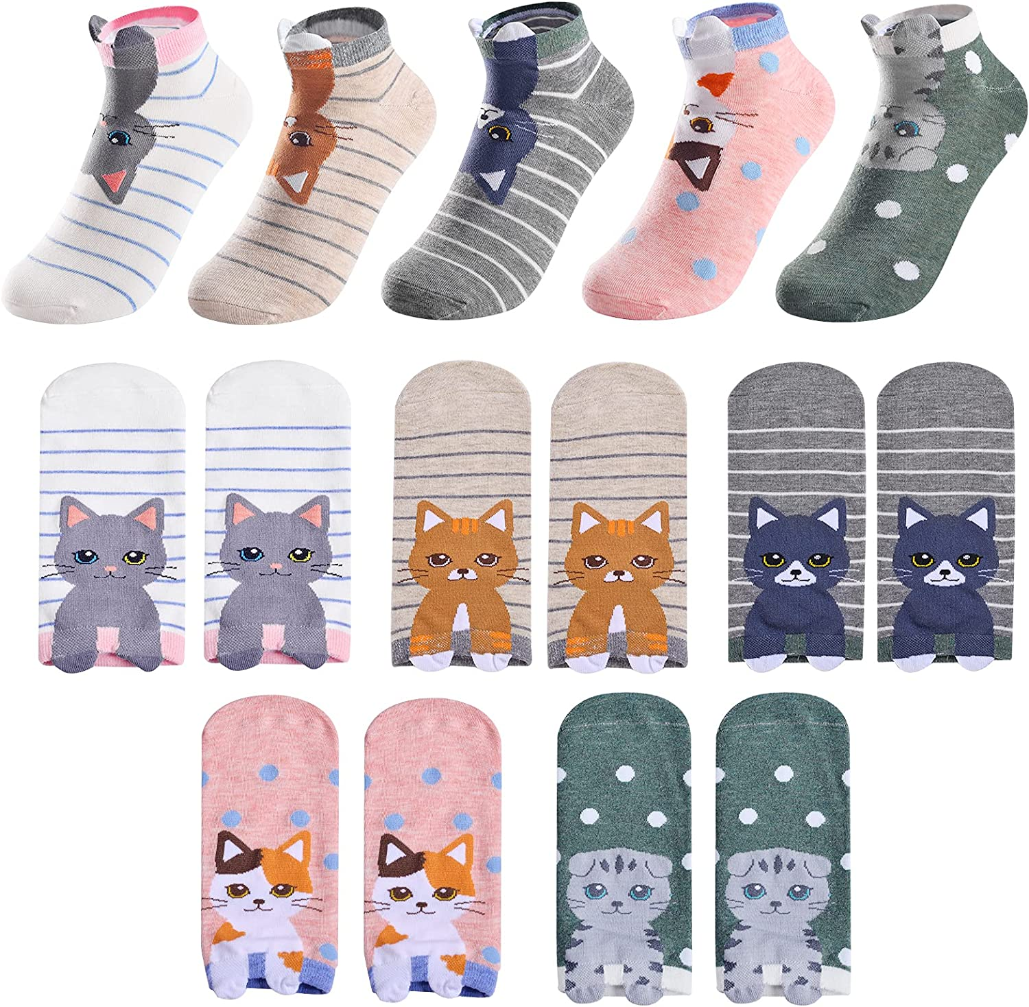 EJURLF Cute Ankle Socks for Low FUN Cat Super special price Novelty Women Ranking integrated 1st place