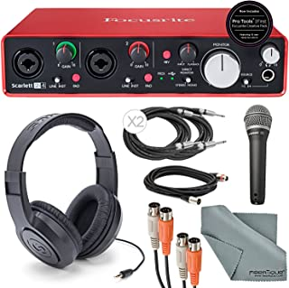 Focusrite Scarlett 2i4 USB Audio Interface and Deluxe Accessory Bundle with MIDI Cable + XLR Cable + 2 ??