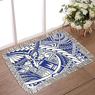 """DecorLovee Doormat for Outdoor Entrance 20""""x31.5"""" Non Slip Rubber Back Tassel Front Door Rugs for Indoor Polynesian Blue T..."""