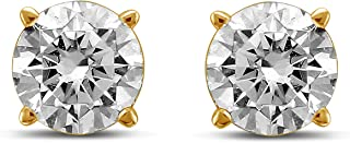 14K Gold Round Diamond Stud Earrings