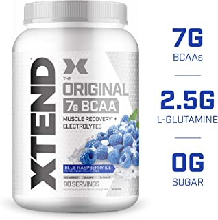 XTEND Original BCAA Powder Blue Raspberry Ice | Sugar Free Post Workout Muscle Recovery Drink with Amino Acids | 7g BCAAs for Men & Women| 90 Servings