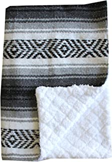 Del Mex Baja Baby Mexican Baby Toddler Blanket paired with Soft Sherpa (Grey)