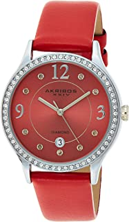 Akribos XXIV Women's Quartz Diamond & Swarovski Crystal Leather Strap Watch