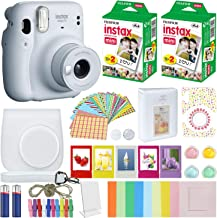 Fujifilm Instax Mini 11 Instant Camera Ice White Compatible Carrying Case + Fuji Instax Film Value Pack (40 Sheets) Accessories Bundle, Color Filters, Photo Album, Assorted Frames…